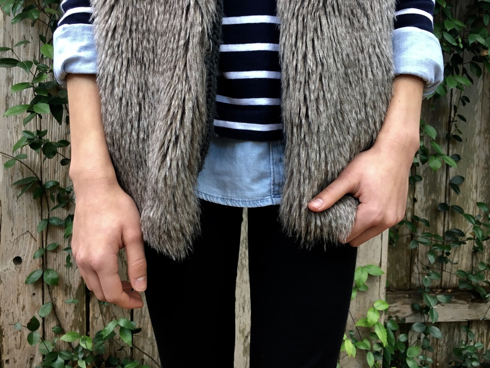 Chambray Shirt: Crewcuts, Striped Shirt: Aritzia, Fur Vest: Nordstrom, Jeans: American Eagle Outfitters, Shoes: Nordstrom
