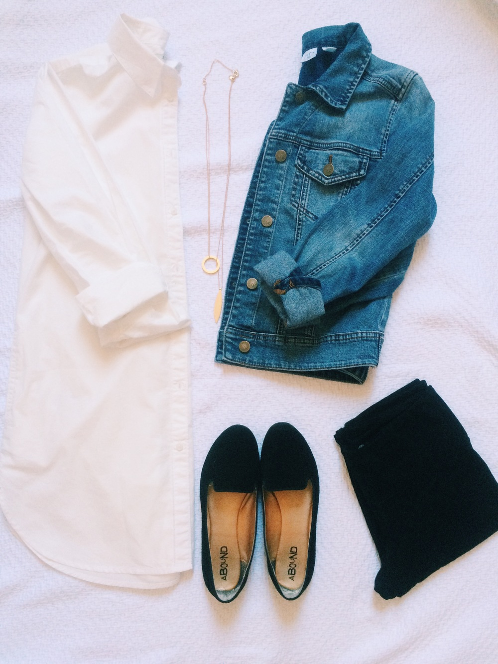 Shirt: Madewell, Pants: Old Navy, Necklace: Madewell, Jean Jacket: Brass Plum, Shoes: Nordstrom Rack