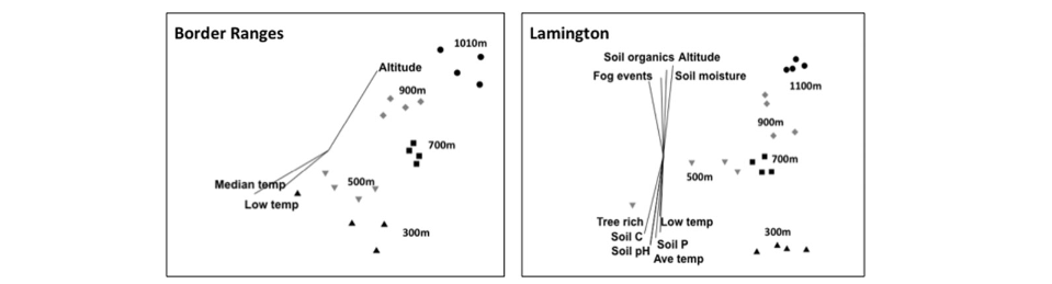 NMDS ordinations for (a) Border Ranges, (b) Lamington, (c) Eungella and (d) ML altitudinal transects with superimposed vectors. Only the significant variables were incorporated into this visual summary of variables that correlate with the observed moth assemblage pattern. The direction of each vector line indicates the positive or negative direction of the trend, and the length of each vector line indicates the strength of the relationship.