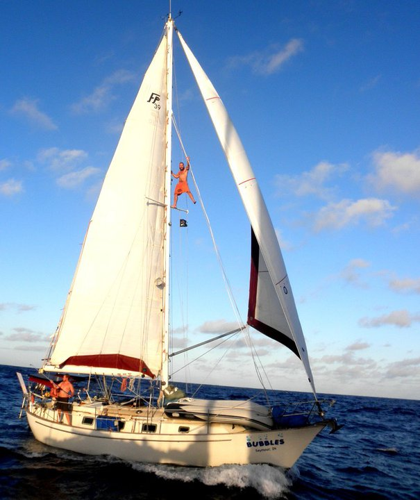 "Alex (also known as ""Captain Alex"") sailed Bubbles around the world with no prior sailing experience"
