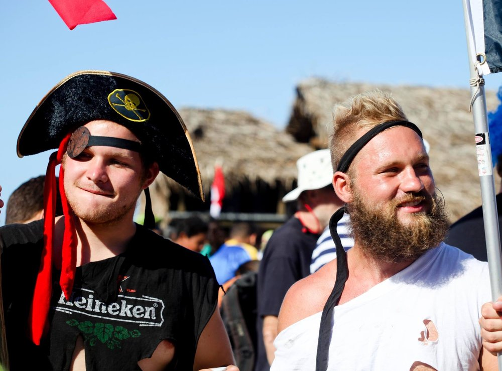 Joe and Alex (right) dressed as pirates during one leg of the sailing trip
