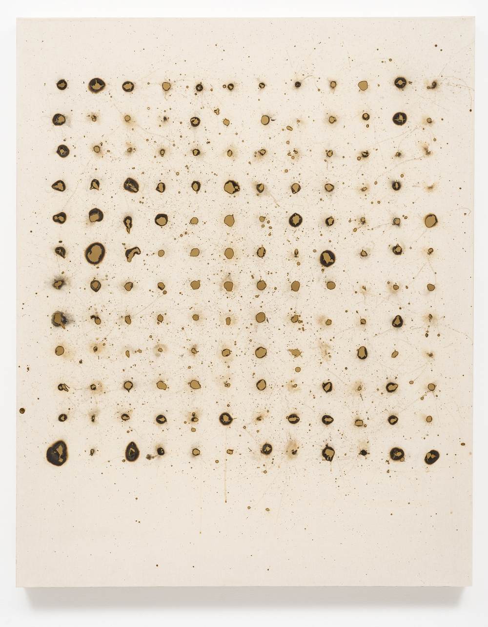 """Fence Mending"", 2015   Rabbit skin glue on canvas with welding burn holes   51"" H x 41"" W x 2.5"" D (129.54 cm H x 104.14 cm W x 6.35 cm D)"