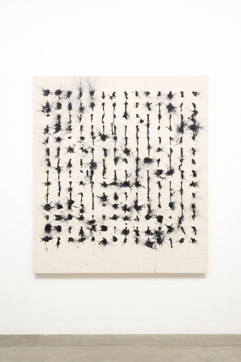 """Murmuration"", 2015   Oil, rabbit skin glue on canvas    71"" H x 64"" W x 2.5"" D (180.34 cm H x 162.56 cm W x 6.35 cm D)"