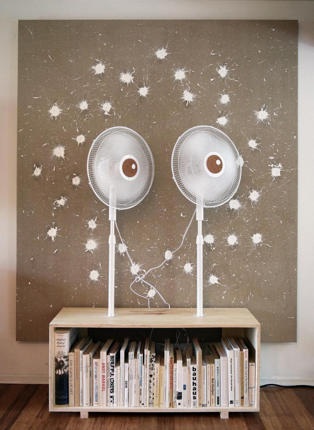 BlowHard - 2016 - Oil paint, hemp, electric fans, cork, paper, wood, books