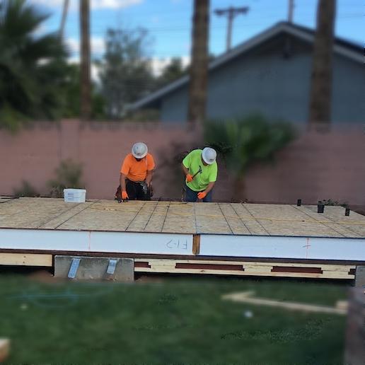 "10"" SIP Floor panels laid on Concrete Pads"