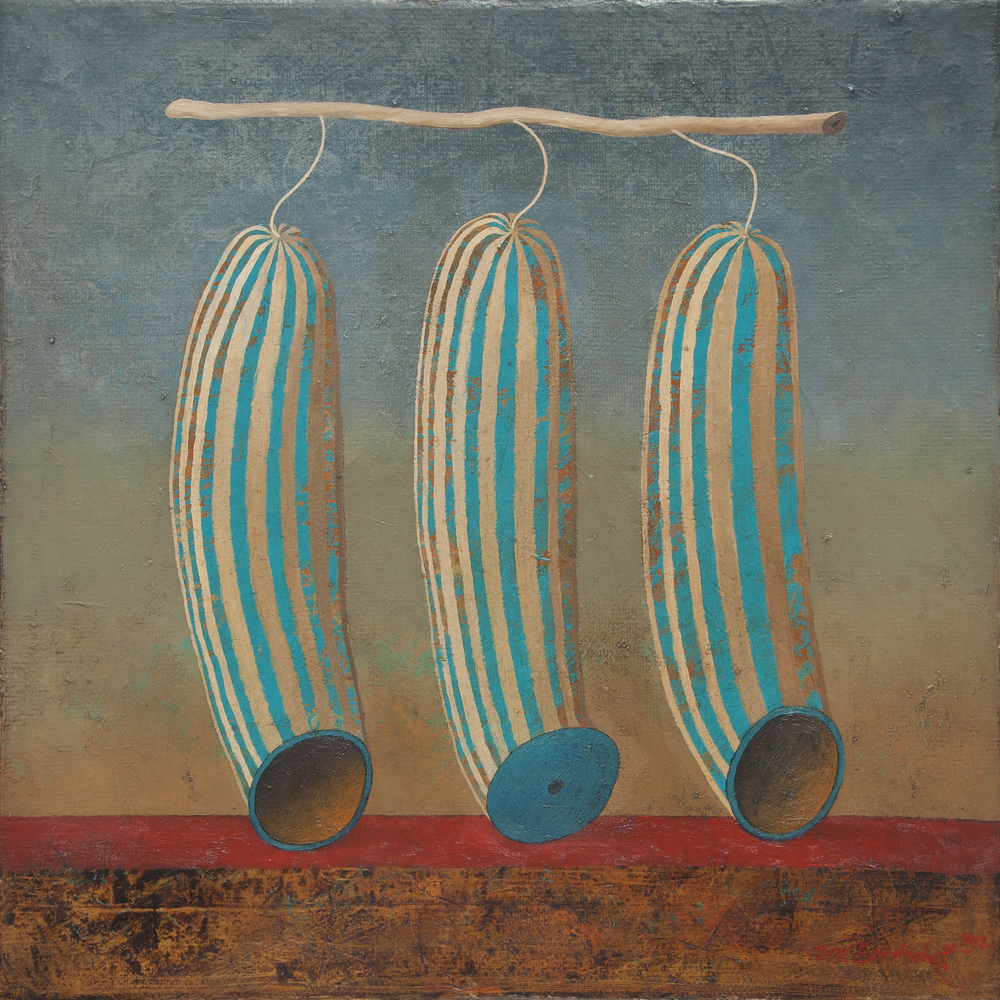 Alien Fruits I, oil on canvas, 46x46 cm, 2012