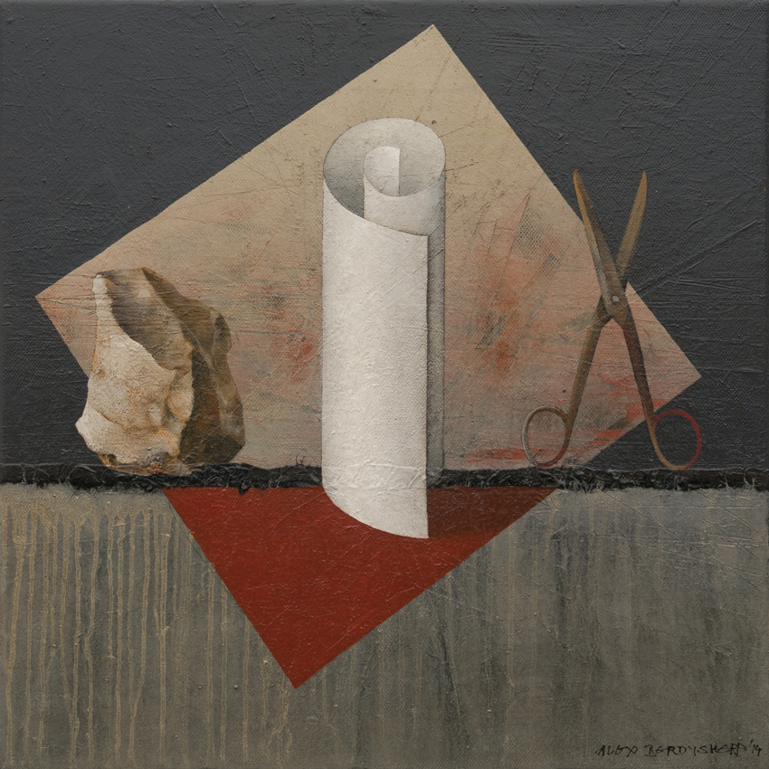Stone, Paper, Scissor, oil on canvas, 46x46 cm, 2014