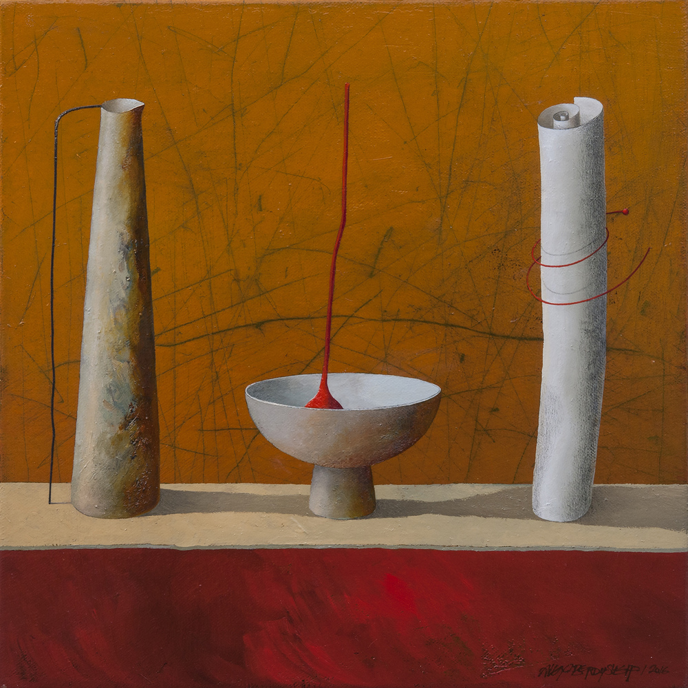Performing Objects I., oil on canvas, 46x46cm