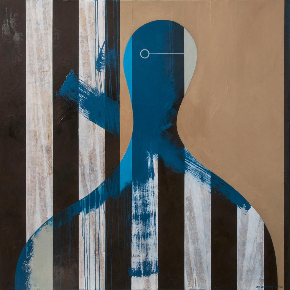 Silhouette Blue, oil on canvas, 150x150cm