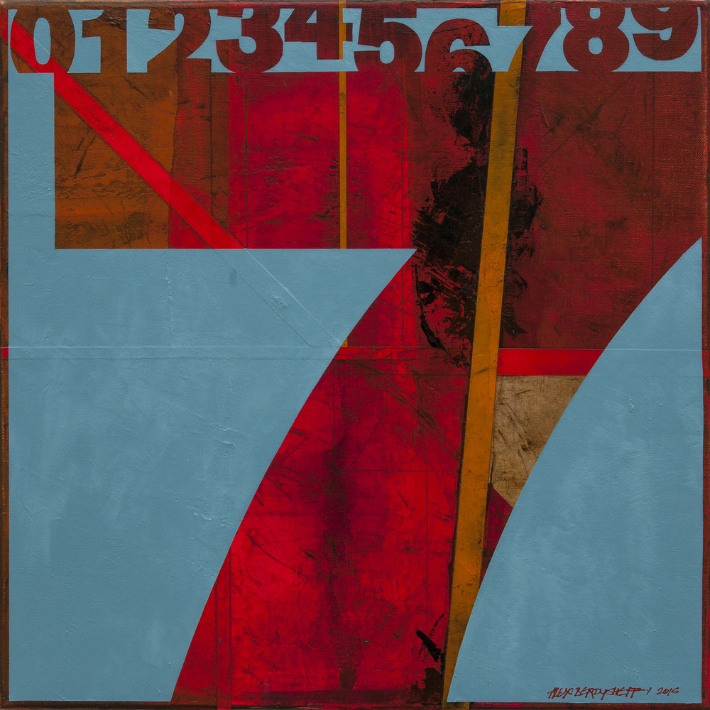 Numbers (7). Tribute to Jasper Johns, oil on canvas, 46x46cm