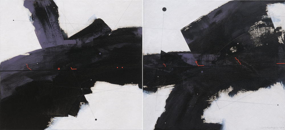 Dark Matter, acrylic and oil on canvas, dyptich, each part 72x78cm, 2017