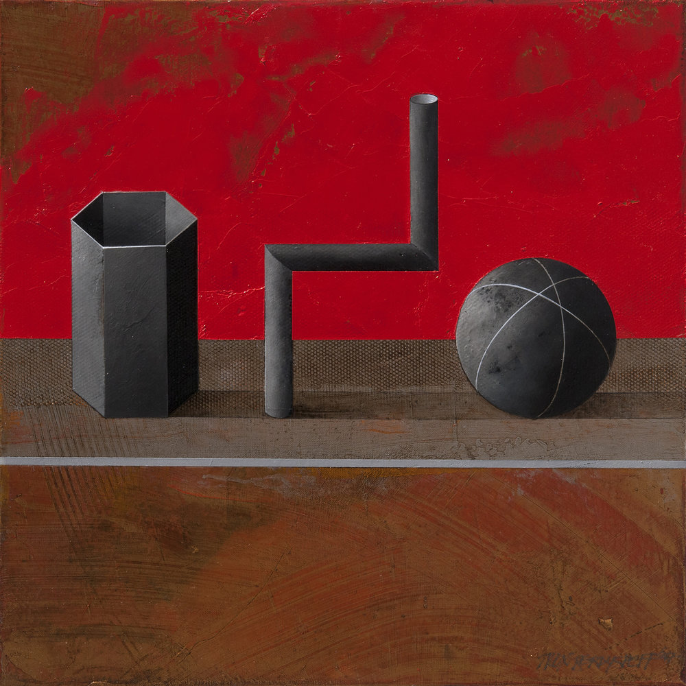 Still-life with red Background, acrylic and oil on canvas, 46x46 cm, 2017