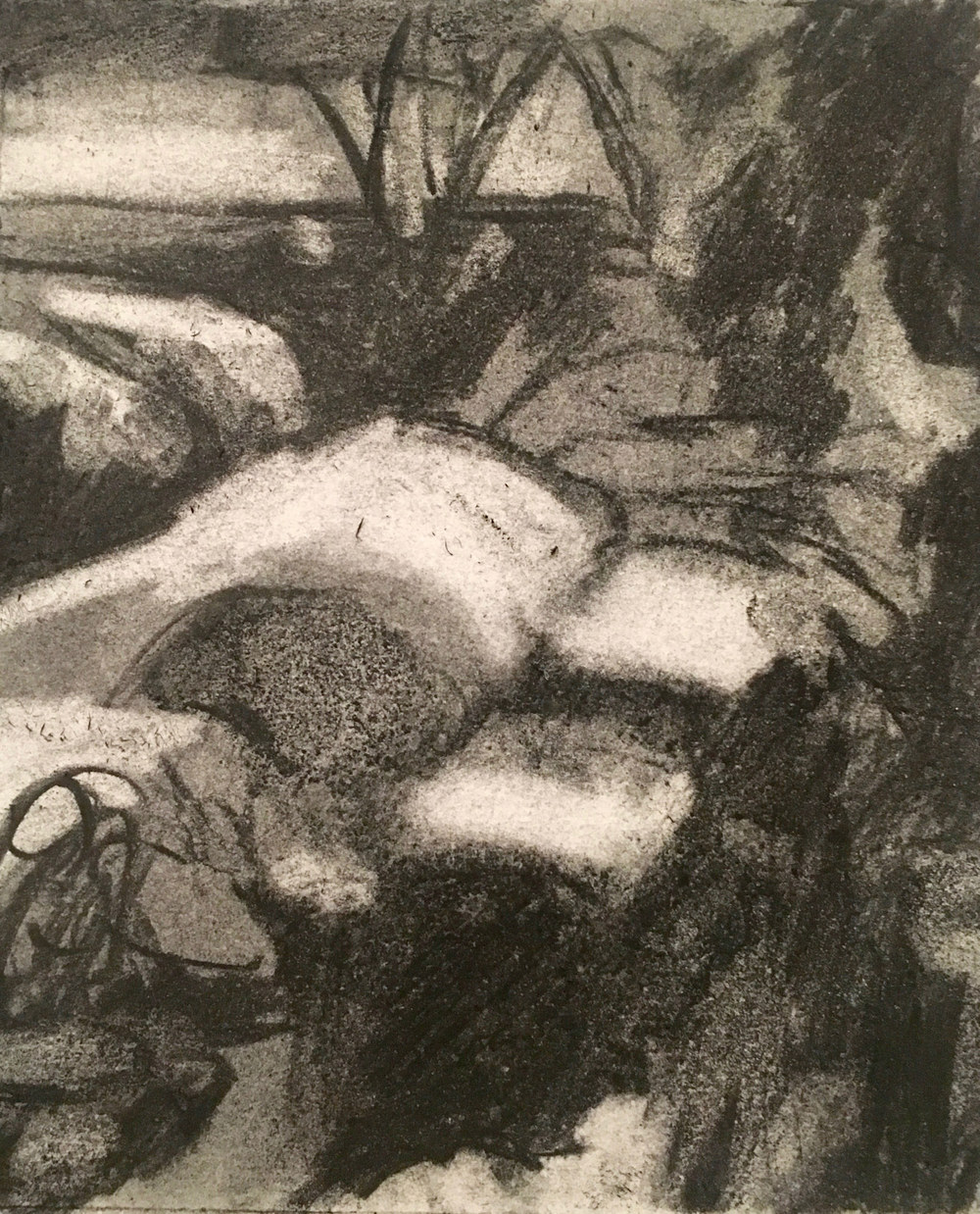 "luminous snow shadows       landscape, charcoal, 6""x 6"" , 2016       beth vendryes williams"