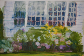 "petite garden windows watercolor  4"" x  6"" landscape  bvw        499."