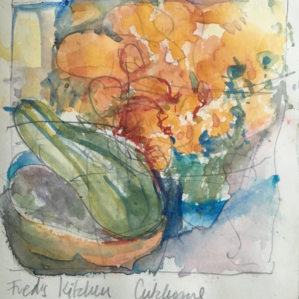 Fred's kitchen 2015/8, Journal    watercolor & pencil, beth vendryes williams