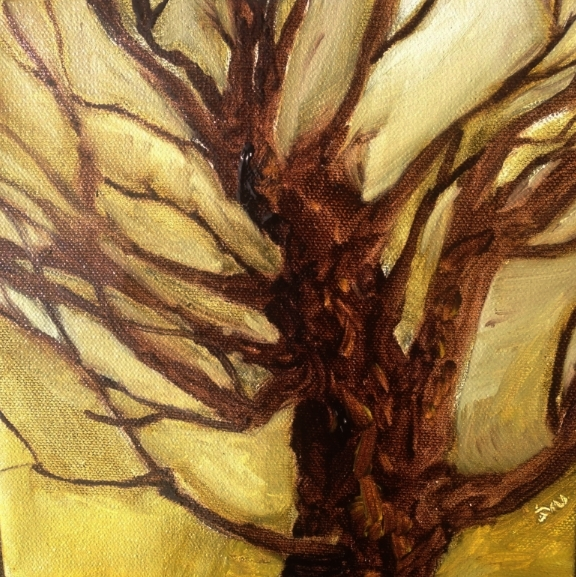 "Winter branches     #727             8"" x 8"" x.75  oil on board        beth vendryes williams"