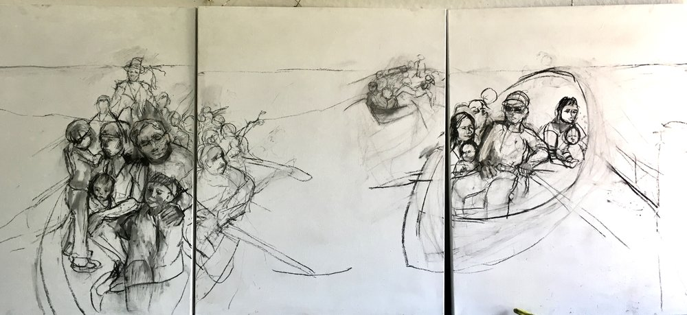 "Mid process of charcoal underdrawing on a triptych of three canvases, for the ""seeking refuge ""  series. Just waiting to start with paint    beth vendryes williams"