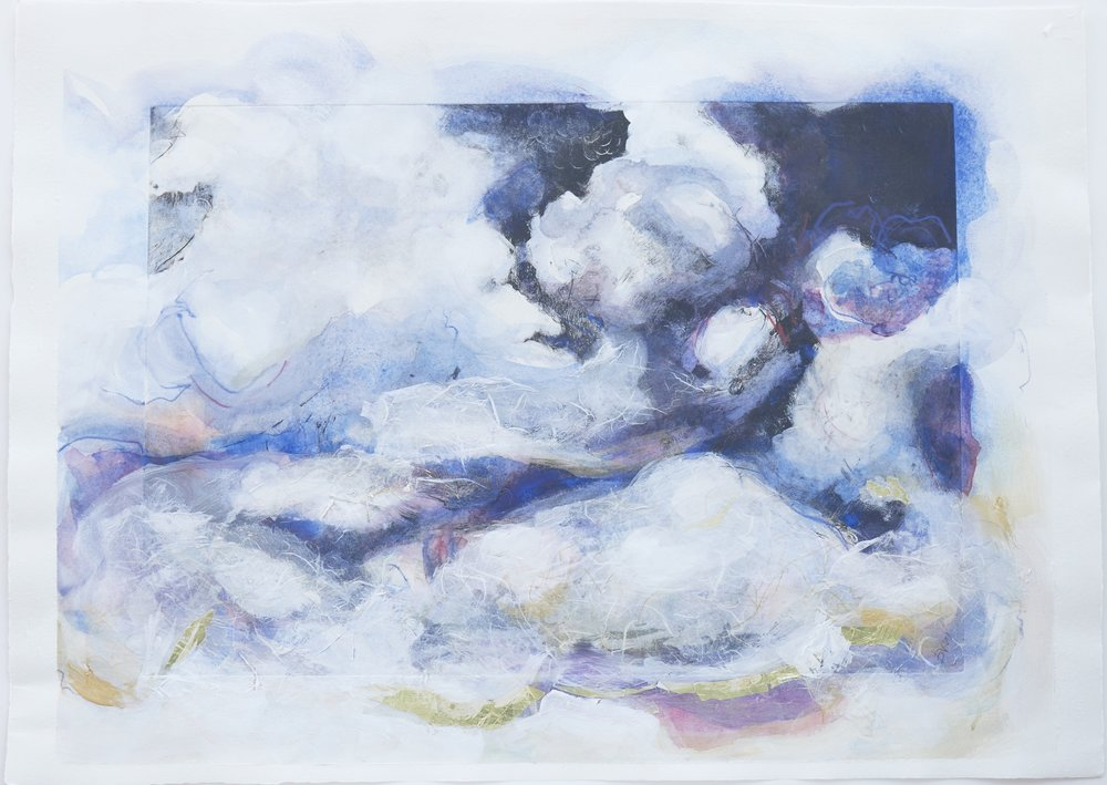 clouds of joy, #960 SolarpPlate print, collage, watercolor AP beth vendryes williams 2018