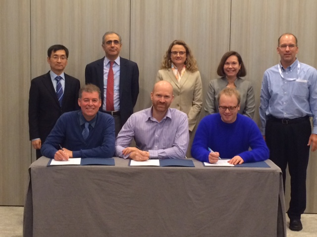 ITCN members participating in last month's signing ceremony included (front, L-R) Paul Feron, Commonwealth Scientific and Industrial Research Organization; Aslak Einbu, Foundation for Scientific and Industrial Research; Espen Hamborg, Test Centre Mongstad; (rear, L-R) Chang-Keun Yi, Korea Institute of Energy Research; Mohamed Pourkashanian, United Kingdom Carbon Capture and Storage Research Centre; Roxann Laird, National Carbon Capture Center; Tania Constable, CO2 Cooperative Research Centre; John Litynski, DOE.