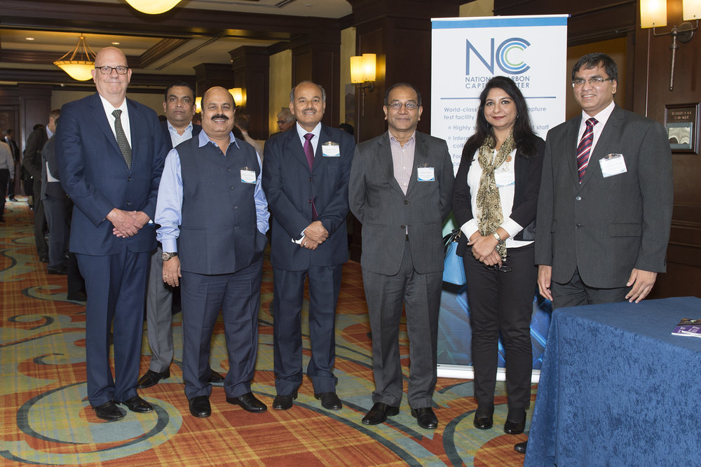 From left, Frank Morton, Southern Company consulting engineer, is pictured with a VIP delegation from the India government, including: N. A. Ramakrishnan, general manager, National Thermal Power Limited; Dr. Sarat Kumar Acharya, chairman, Neyveli Lignite Corporation; Susheel Kumar, secretary, India Ministry of Coal: Dr. Prabhat Ranjan, executive director, India's Technology Information Forecasting and Assessment Council (TIFAC); Sangeeeta Bakshi, scientist, TIFAC; and Peeyush Kumar, director, Ministry of Coal.