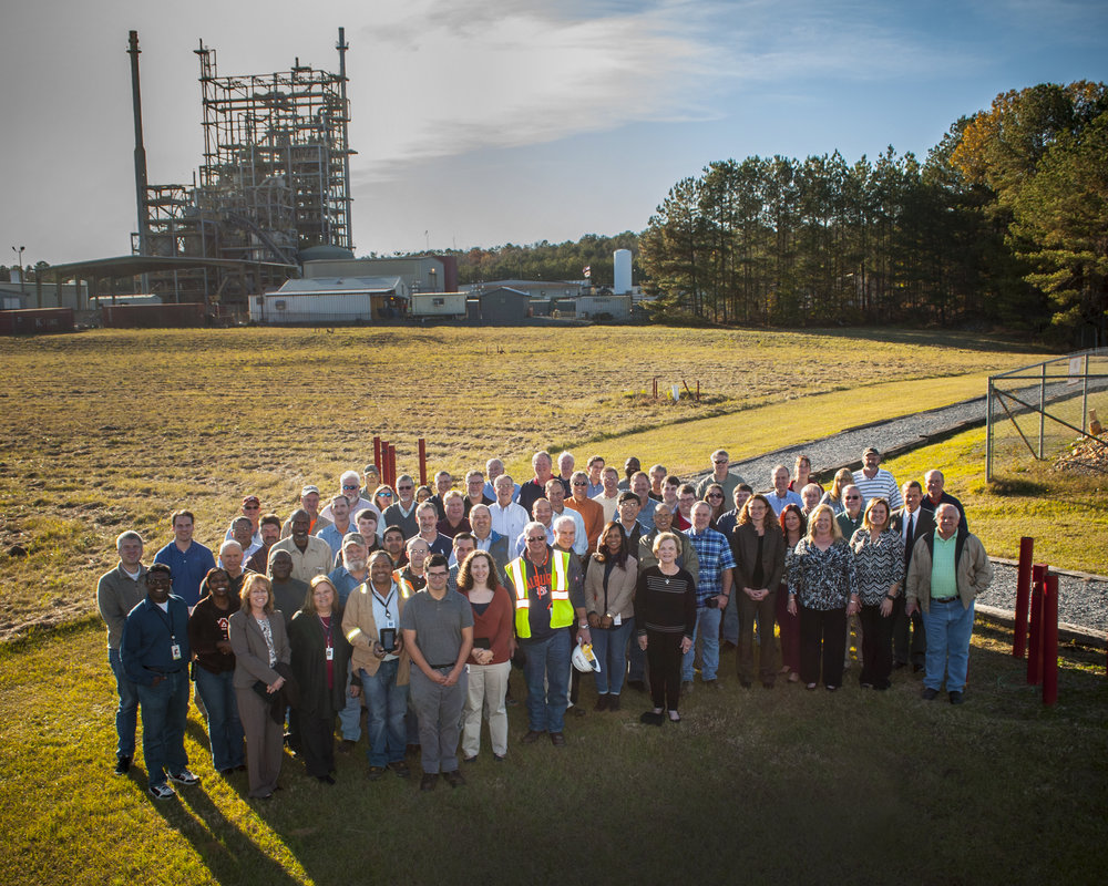Around 80 current and former employees gathered to celebrate the National Carbon Capture Center's 100,000 hours milestone.