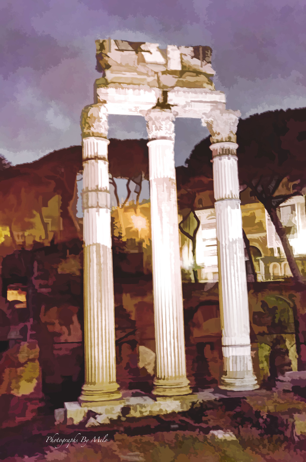Three  columns in water  color