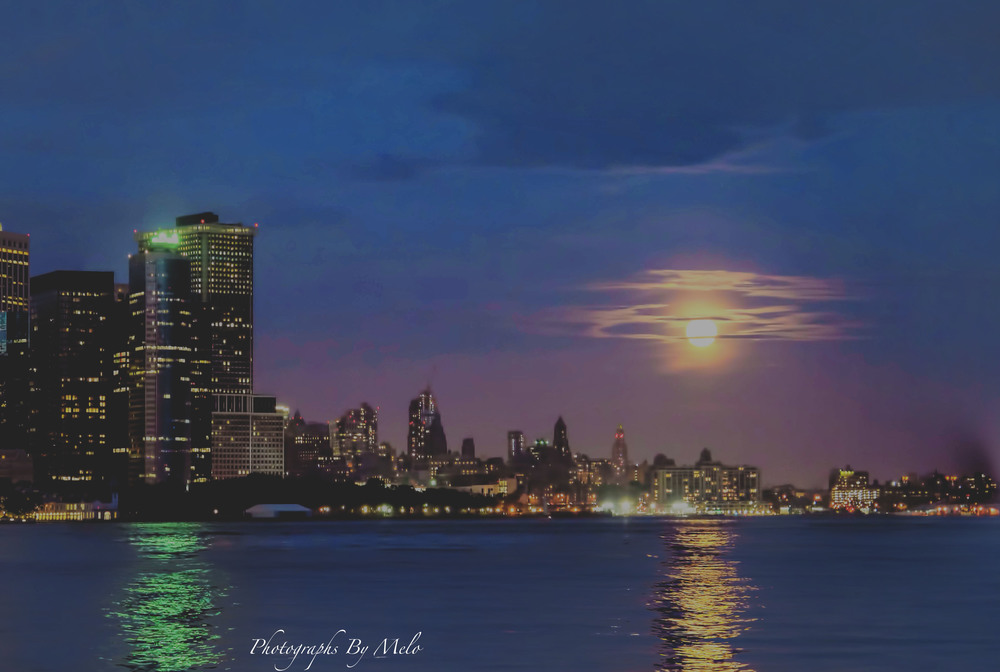 Super Moon over Downtown Brooklyn, NYC