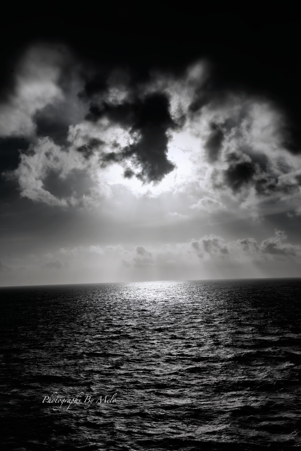 Sunset (B&W) in the Atlantic Ocean