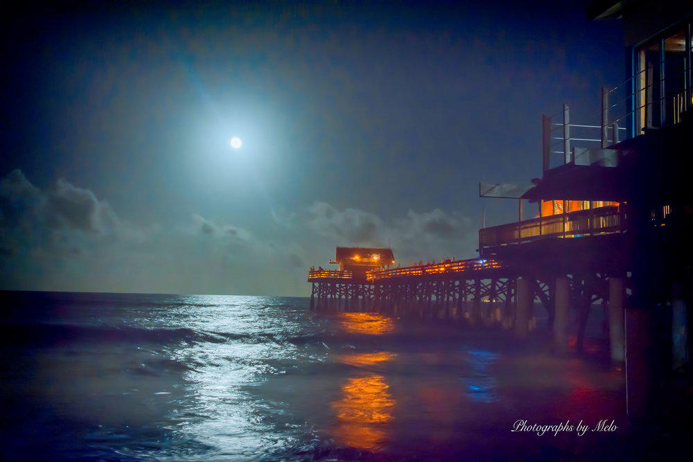 Full Moon and Pier at Cocoa Beach, Florida