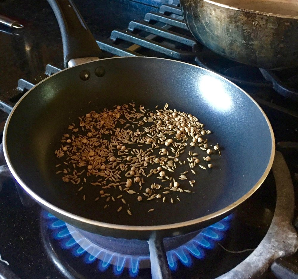 Toasting the cumin and coriander for deeper flavor for the egg mixture