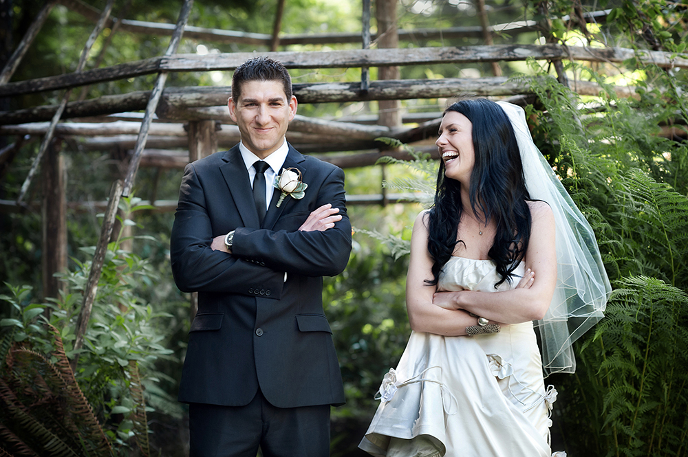 Bride and Groom laughing, Tofino BC