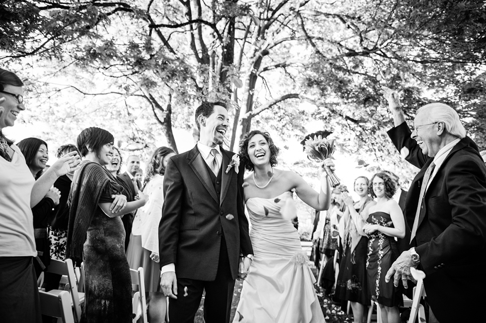 wedding couple walking down the isle, brock house vancouver bc