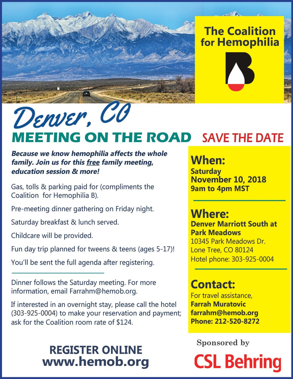 - Click the picture to download the official flyer for our November 2018 Denver meeting!