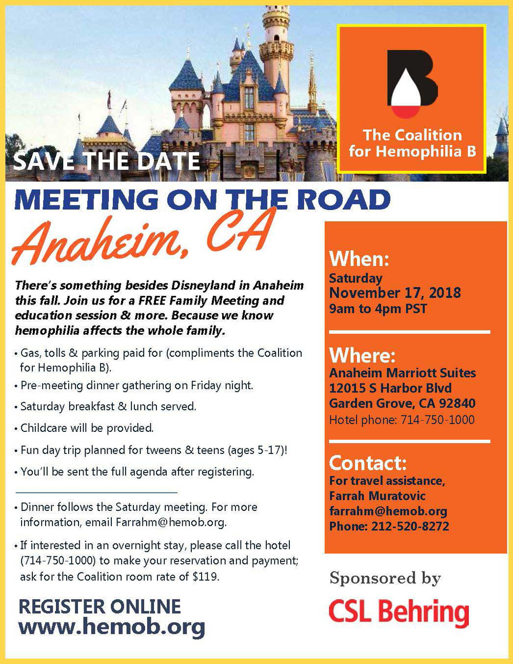 - Click the picture to download the official flyer for our November meeting at the Anaheim Marriott Suites!
