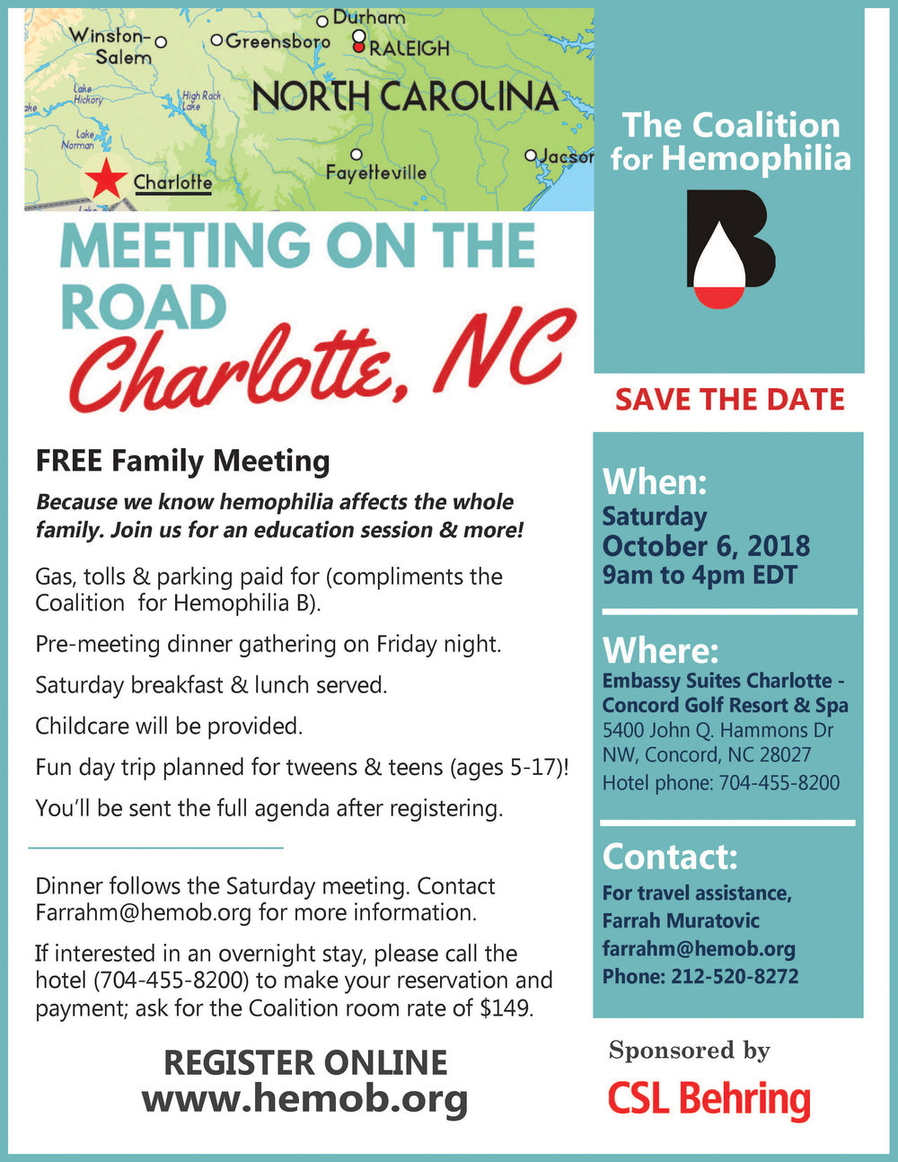 - Download our official Charlotte, NC meeting flyer HERE, and we'll see you in October!