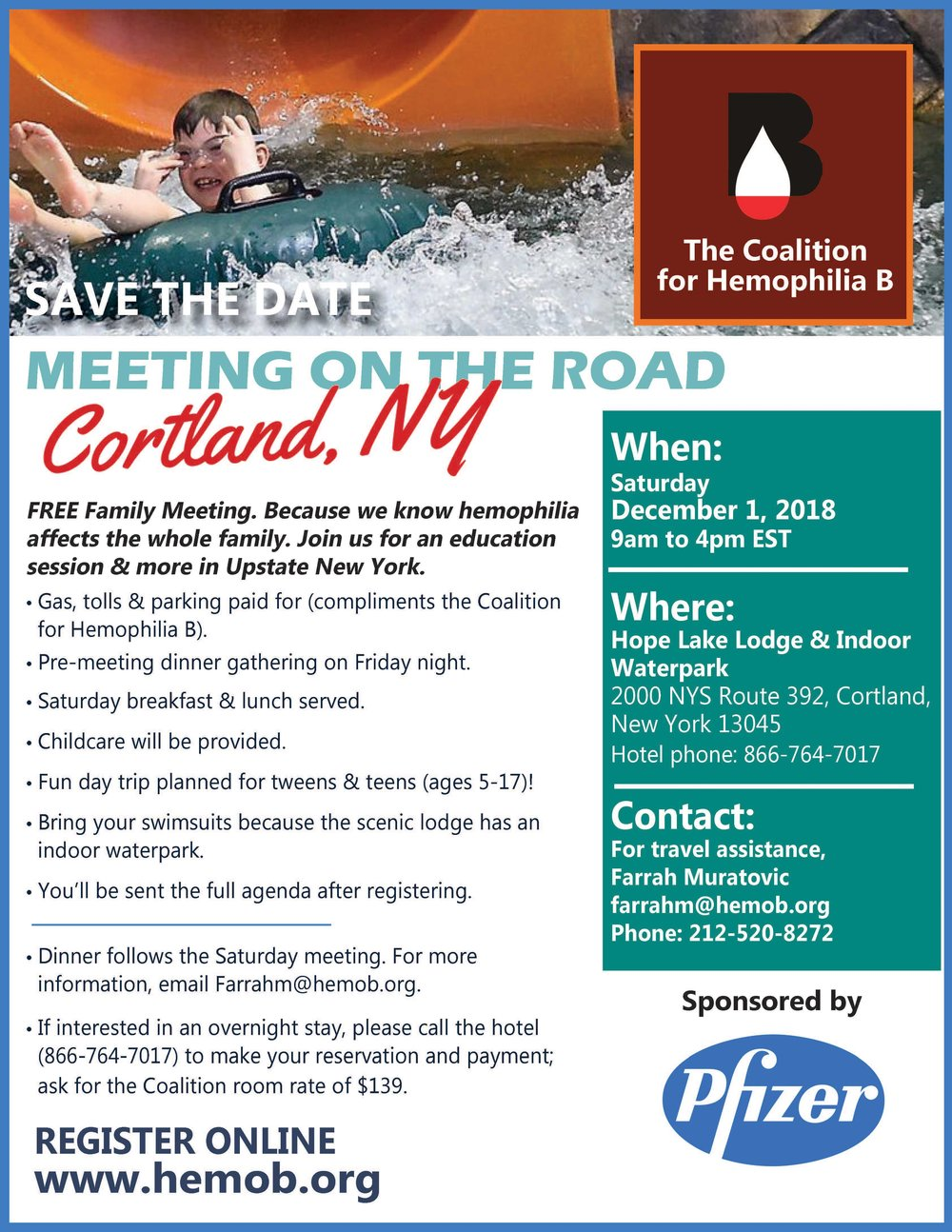 - CLICK the picture to download our official flyer for our meeting in Cortland NY at the indoor waterpark!