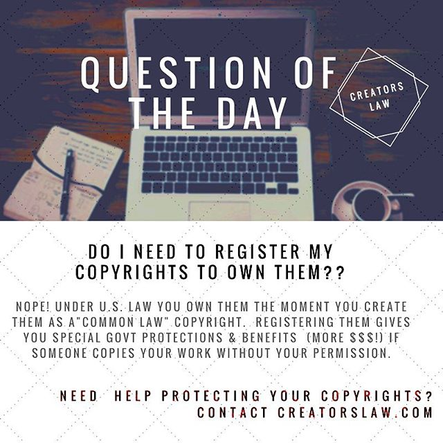 today's question of the day is hands down one of the most popular questions we get from creators of all kind. Do you or someone you know need help protecting and managing your copyrights? Contact creatorslaw.com 💫 . #entrepreneur #artist #entertainer #musician #producer #dj #designer #filmmaker #startup #freelancer #website #programmer #lawyer #attorney #copyright #trademark #musicindustry #prototype #creators #creatorslaw