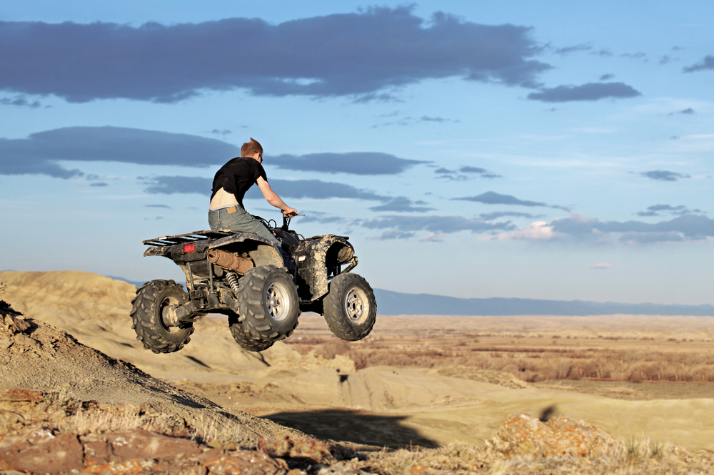 Look, Ma, no helmet! We're predicting  V86.55XA  Driver of 3- or 4- wheeled all-terrain vehicle (ATV) injured in nontraffic accident, initial encounter. (Image Credit: Adobe Stock).