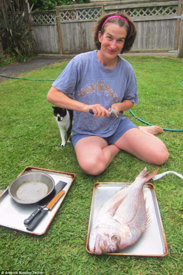Yes, that's Madame Murphy. Gutting a fish. Five years ago.