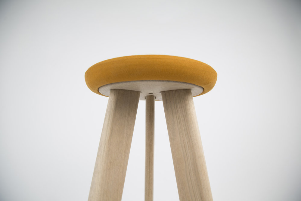yolk   Yolk is a contemporary barstool with a classic feel - utilising simple details, profiles and textures to combine three complimentary materials. Generous in proportion but humble in finish, Yolk is designed to sit comfortably within a range of contexts with scope to carry key features across a range of furniture.