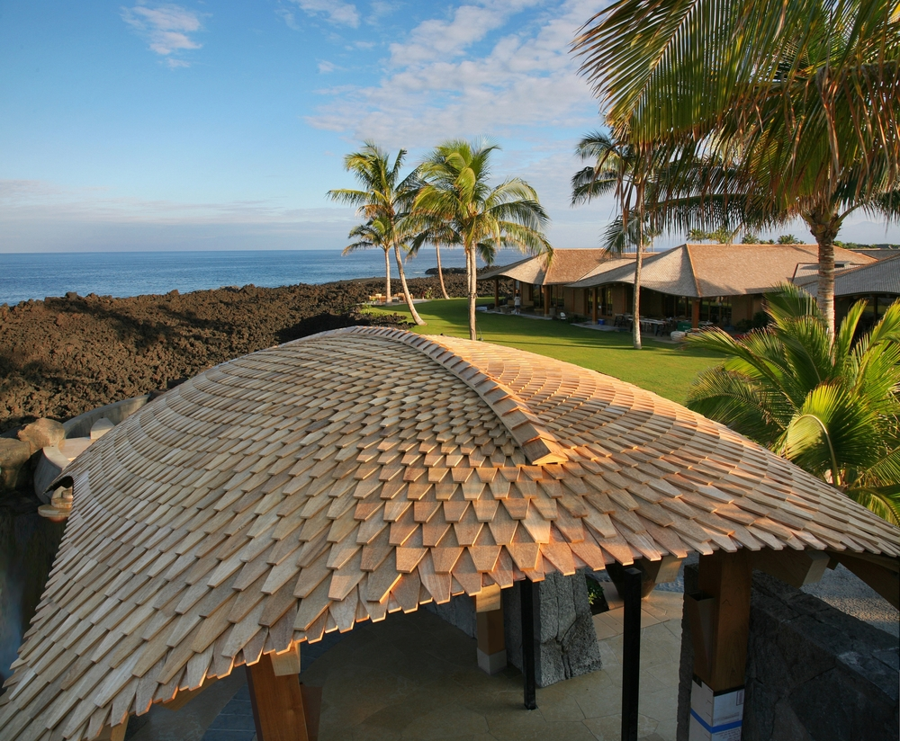 Steam-bent, reclaimed Teak shingles in graduated sizes. Kailua Kona, Hawaii