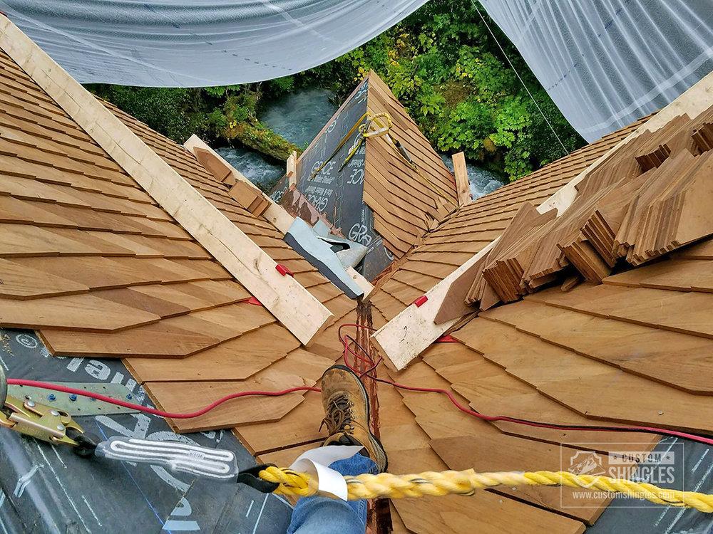 teak shingle layering process
