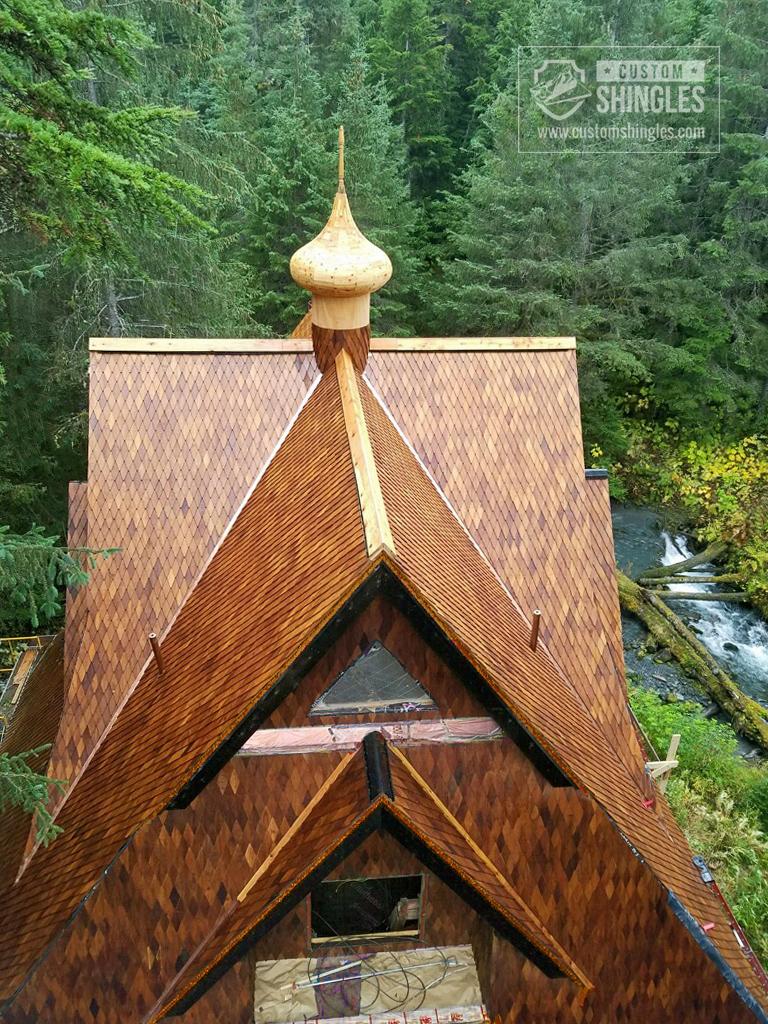 steep pitch exotic teak shingled roof