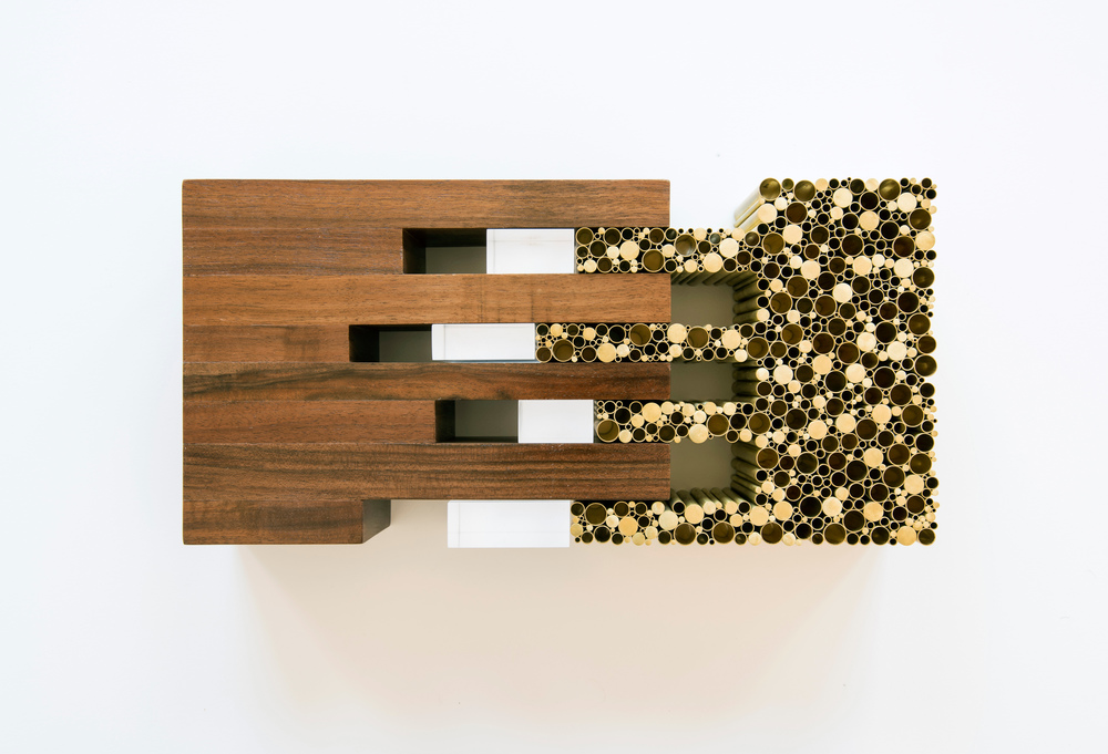 Conjoined Landscape, 2014. Black walnut, brass tubes and rods, acrylic. 13 in x 3 in x 3 in. New York museum. Courtesy Allied Works Architecture.