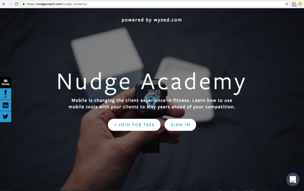 Sign Up Page for Nudge Academy