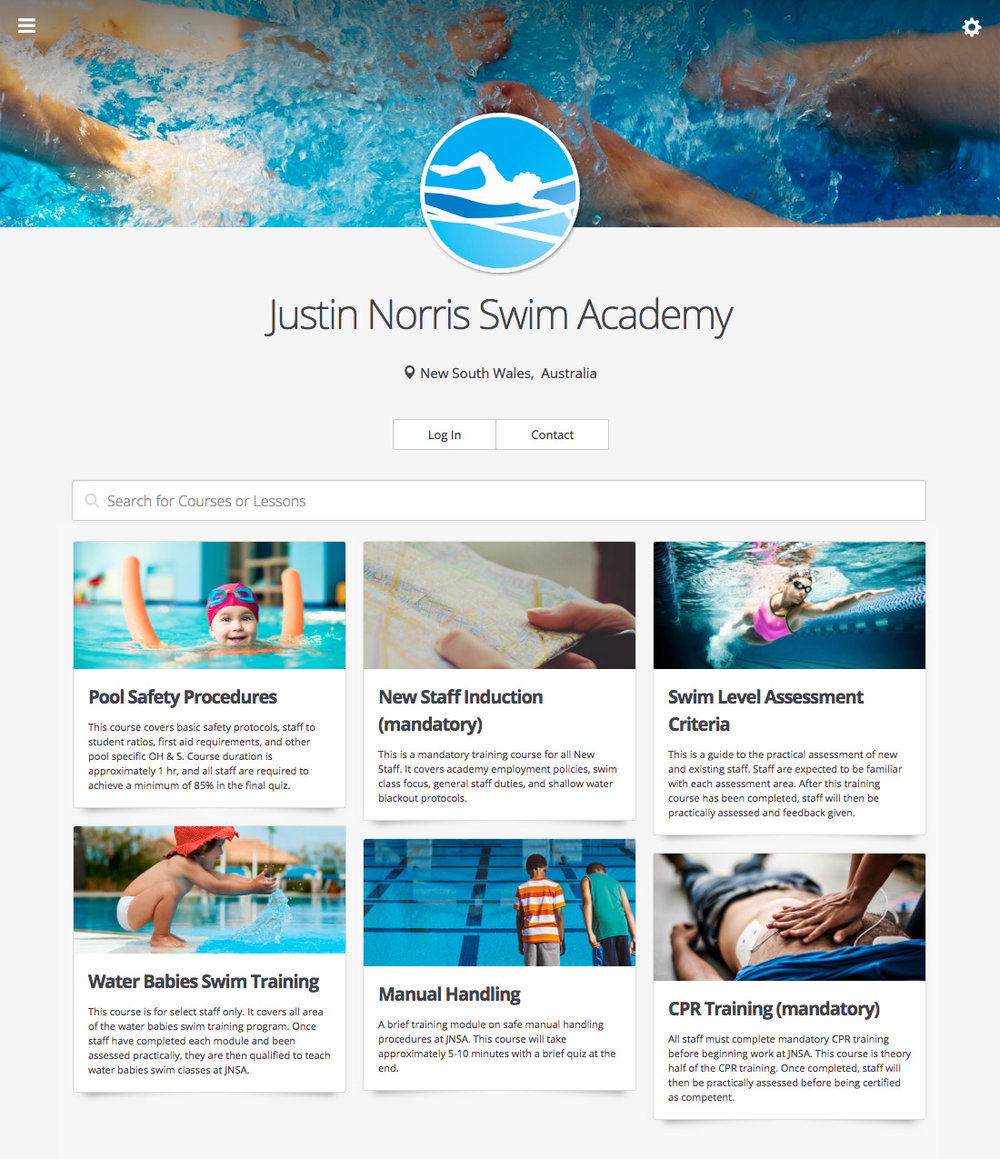 A screen shot of Justin Norris Swim Academy's Wyzed account.