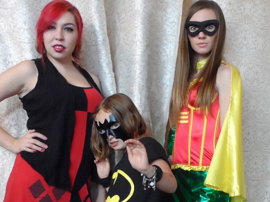 The crew at PolyEsther's Costume Boutique in Midtown Reno shows off some last-minute costumes for Comic Con. They are, from left, Tara Davis, Willa Dunaway and Jessie Stipech.     (Photo: Yvonne Beasley/RGJ)