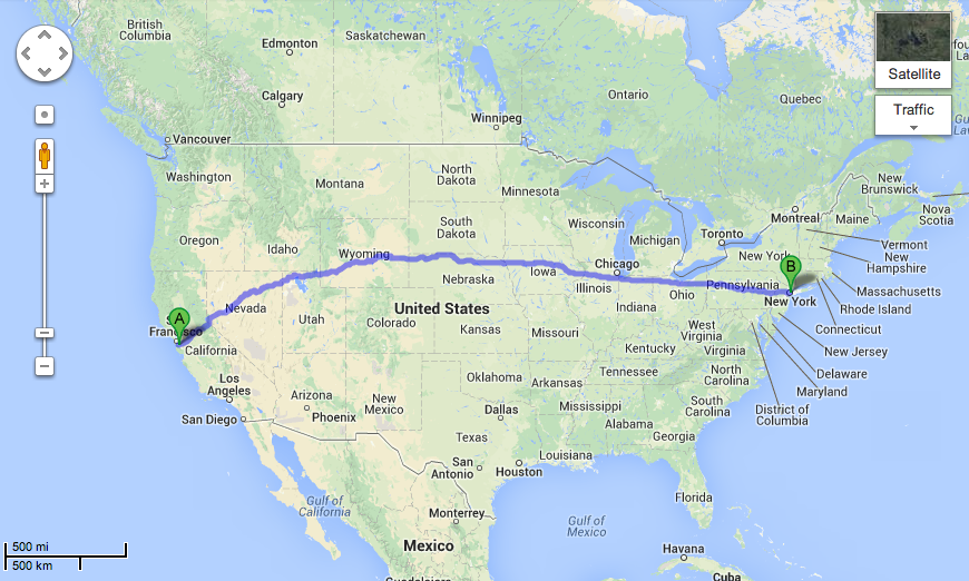 CA to NY shortest route
