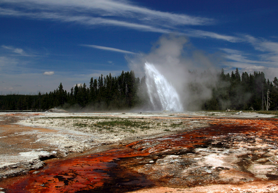Geysers erupt daily in Yellowstone National Park
