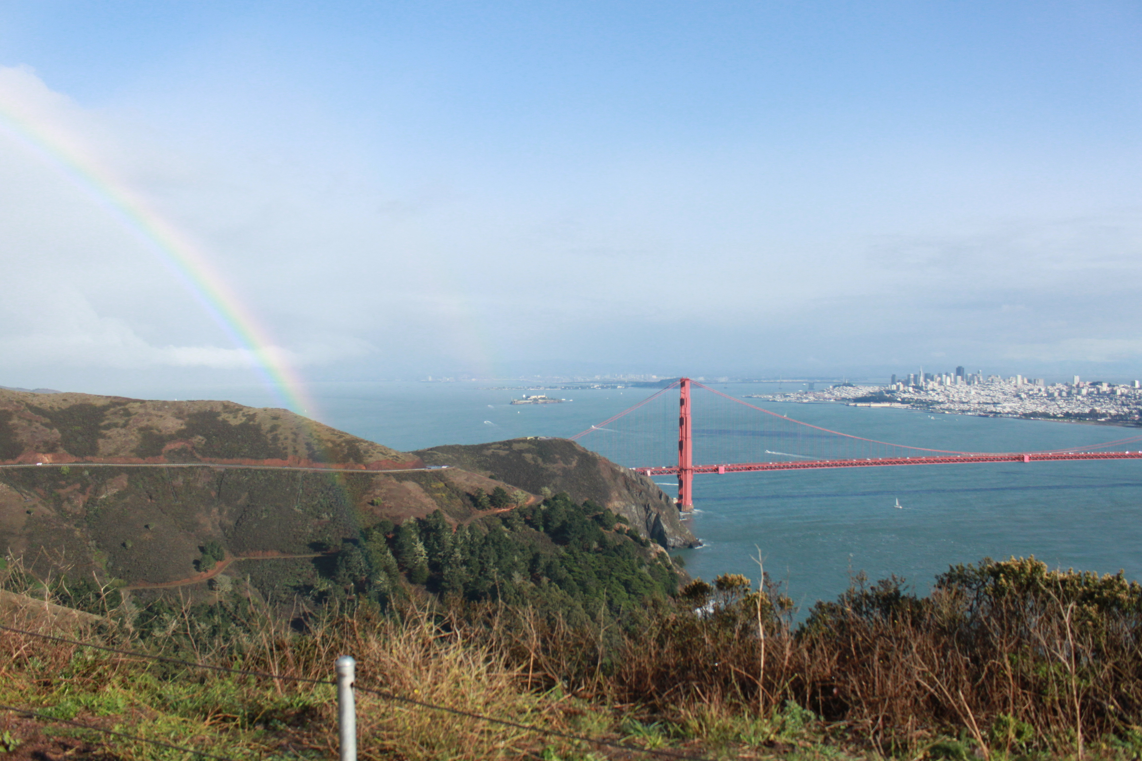 San Francisco in summer, a rainbow visible, California